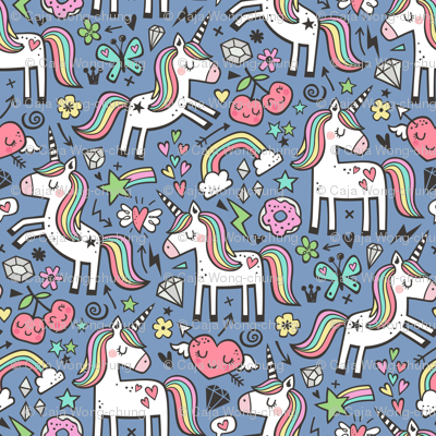 Unicorn & Hearts Rainbow  Love Valentine Doodle on Dark Blue Navy
