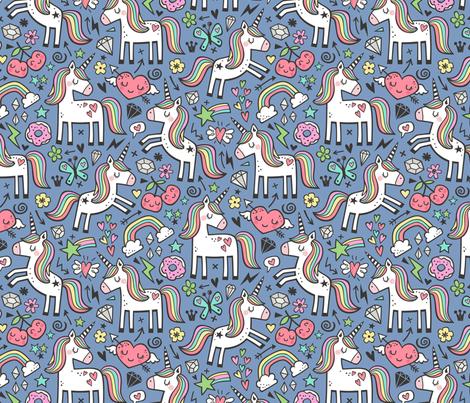 Unicorn & Hearts Rainbow  Love Valentine Doodle on Dark Blue Navy fabric by caja_design on Spoonflower - custom fabric