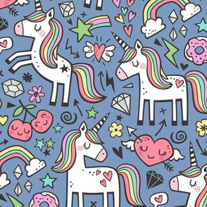 Unicorn & Hearts Rainbow  Love Valentine Doodle on Dark Blue Navy