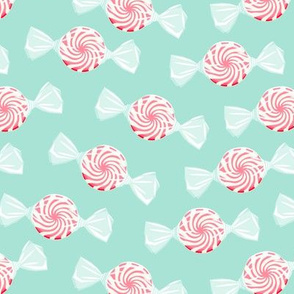 peppermint candy - pink on aqua