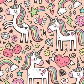 Unicorn & Hearts Rainbow  Love Valentine Doodle on Peach