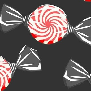 (jumbo) peppermint candy - red on dark grey