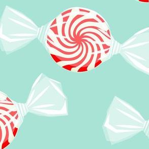 (jumbo) peppermint candy - red on aqua