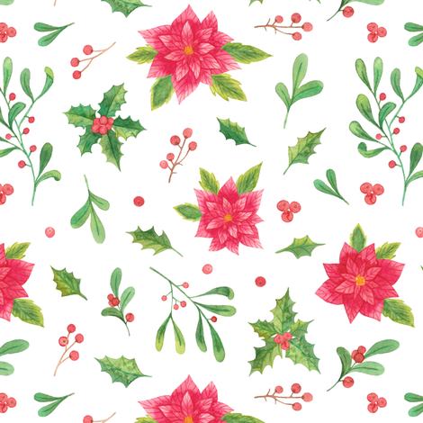 christmas flowers and leaves fabric by alenaganzhela on Spoonflower - custom fabric