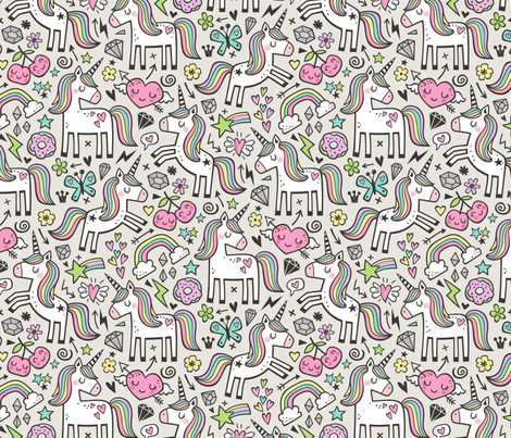 Unicorn & Pink Hearts Rainbow  Love Valentine Doodle  fabric by caja_design on Spoonflower - custom fabric