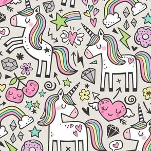 Unicorn & Pink Hearts Rainbow  Love Valentine Doodle