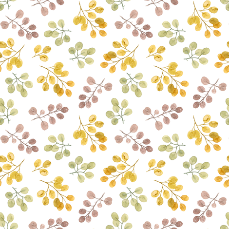 watercolor eucalyptuses branches  fabric by alenaganzhela on Spoonflower - custom fabric