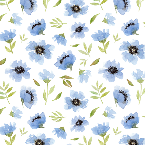 watercolor blue flowers fabric by alenaganzhela on Spoonflower - custom fabric