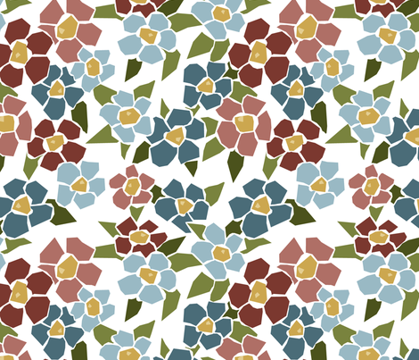 Fractured Floral - cool white fabric by jewelraider on Spoonflower - custom fabric
