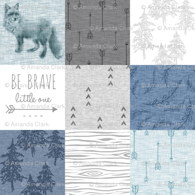 Be Brave Little One Quilt - whit, grey and blues - fox,arrows, Woodland forest, woodgrain