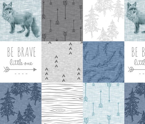 Be Brave Little One Quilt - whit, grey and blues - fox,arrows, Woodland forest, woodgrain fabric by sugarpinedesign on Spoonflower - custom fabric