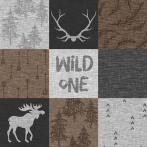 Wild One Quilt - Brown and Grey - bear, moose, antlers, woodland