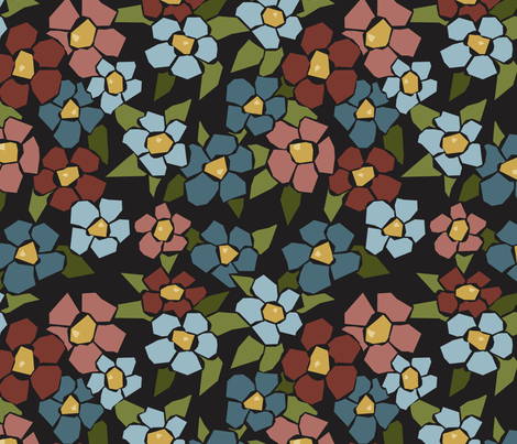 Fractured Floral - cool black fabric by jewelraider on Spoonflower - custom fabric