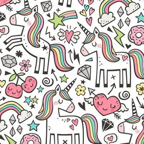 Unicorn & Hearts Rainbow  Love Valentine Doodle on White