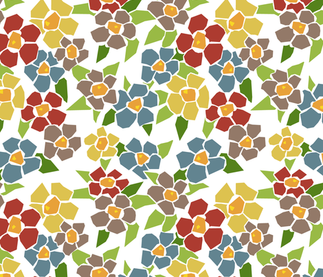 Fractured Floral - warm white fabric by jewelraider on Spoonflower - custom fabric