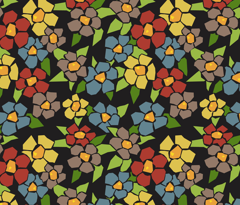 Fractured Floral - warm black fabric by jewelraider on Spoonflower - custom fabric