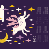 Unicorn calendar 2020 purple