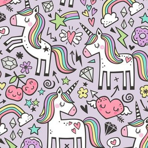 Unicorn & Hearts Rainbow  Love Valentine Doodle on Lilac Light Purple