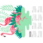 Flamingo watercolor calendar 2020