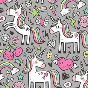 Unicorn & Pink Hearts Rainbow  Love Valentine Doodle on Grey