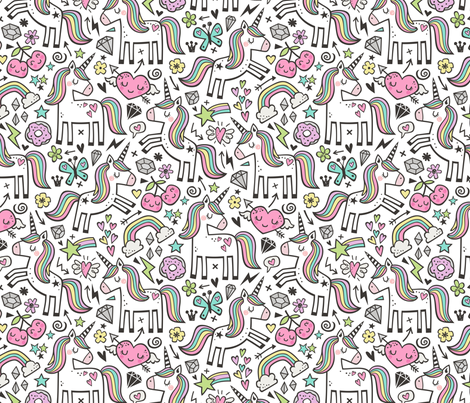 Unicorn & Pink Hearts Rainbow  Love Valentine Doodle on White fabric by caja_design on Spoonflower - custom fabric