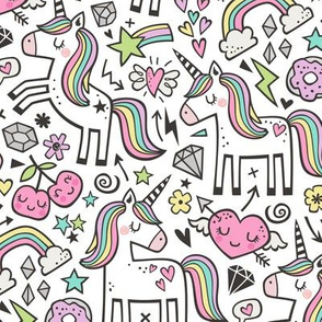 Unicorn & Pink Hearts Rainbow  Love Valentine Doodle on White