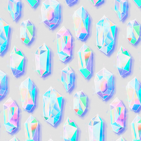 Iridescent Rainbow Crystals - small fabric by micklyn on Spoonflower - custom fabric