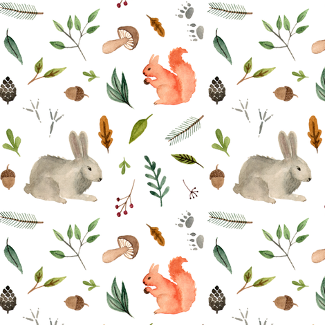 watercolor forest animals team  - squirrel and rabbit fabric by alenaganzhela on Spoonflower - custom fabric