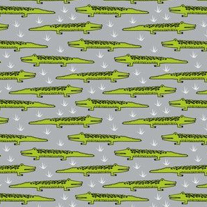 crocodiles (small)// crocodile alligator fabric cute reptiles pattern print andrea lauren fabric andrea lauren design
