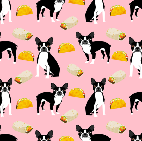 Boston Terrier tacos food dog breed cute pet fabric pink fabric by petfriendly on Spoonflower - custom fabric