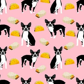Boston Terrier tacos food dog breed cute pet fabric pink