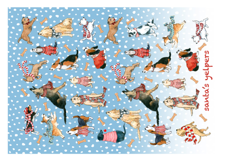 Santa's Yelpers tea towel fabric by sherri_bb on Spoonflower - custom fabric