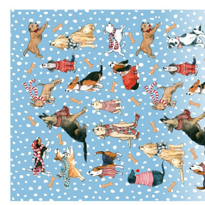 Santa's Yelpers tea towel