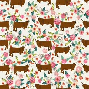 Hereford Cow farm floral fabric cattle cream