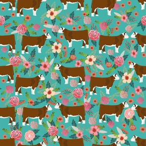 Hereford Cow farm floral fabric cattle teal