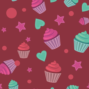 sweet Cup Cakes, Hearts and Stars