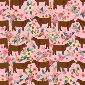 Red Angus cow floral fabric cattle breed pink