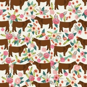 Red Angus cow floral fabric cattle breed cream