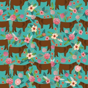 Red Angus cow floral fabric cattle breed teal