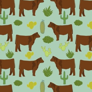 Red Angus cow breed cactus desert fabric mint