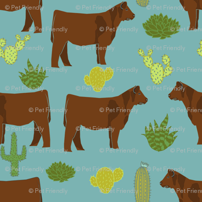 Red Angus cow breed cactus desert fabric teal