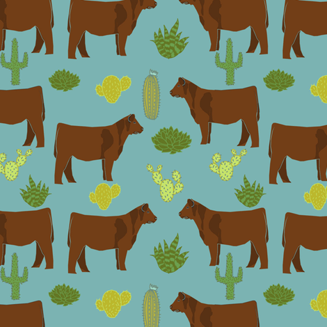 Red Angus cow breed cactus desert fabric teal fabric by petfriendly on Spoonflower - custom fabric