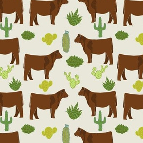 Red Angus cow breed cactus desert fabric cream