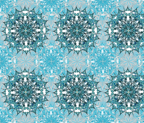 Oriental Mandala in Turquoise fabric by pearlposition on Spoonflower - custom fabric