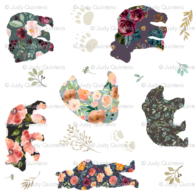 "8"" PATCHWORK BEARS / FLORAL / 90 Degrees"