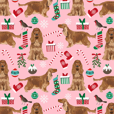Cocker Spaniel with tail christmas fabric holidays candycanes and stockings pink fabric by petfriendly on Spoonflower - custom fabric