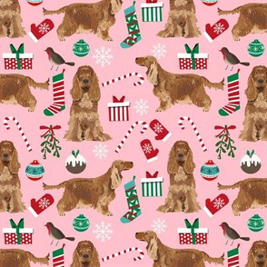 Cocker Spaniel with tail christmas fabric holidays candycanes and stockings pink