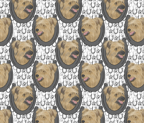 Pyrenean Shepherd horseshoe portraits fabric by rusticcorgi on Spoonflower - custom fabric