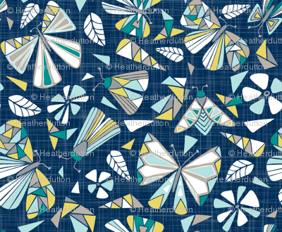 Fractal Flutter - Navy Dreams Extra Large Scale