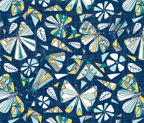 Fractal Flutter - Navy Dreams Extra Large Scale fabric by heatherdutton on Spoonflower - custom fabric